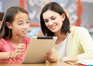 Student and Teacher Enjoying Classroom App