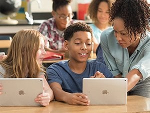Students using iPads in a classroom