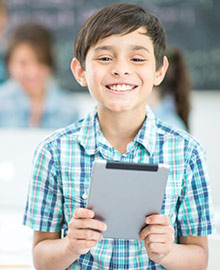 K12 School Boy with iPad